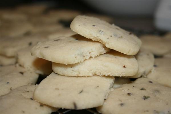 stack of lavender shortbread cookies