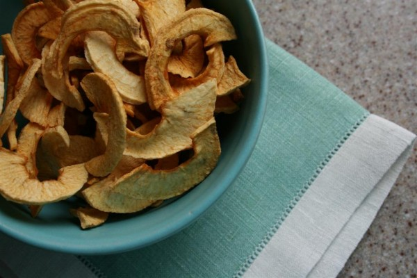 bowl of dried apple slices