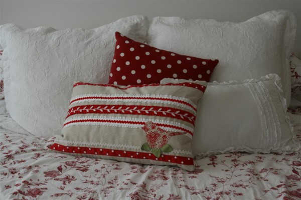 ribbon pillow on bed