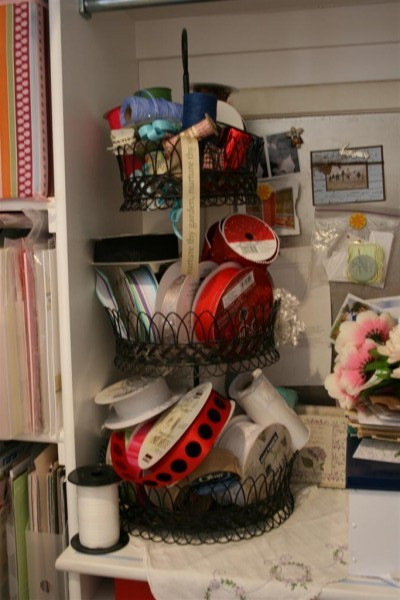 3 tier basket of ribbons