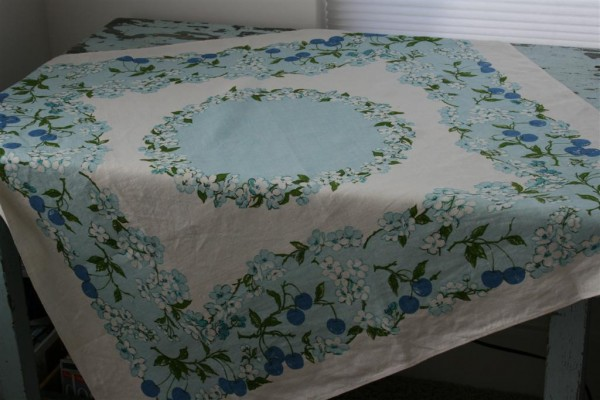 vintage blue tablecloth
