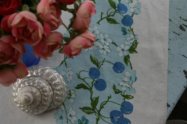 vintage blue cherry tablecloth
