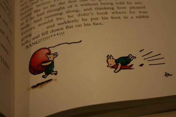 Piglet pops his balloon