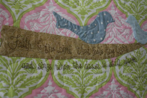 Faith is the bird that feels the light embroidery
