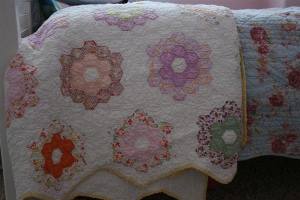 vintage grandmother's flower garden quilt