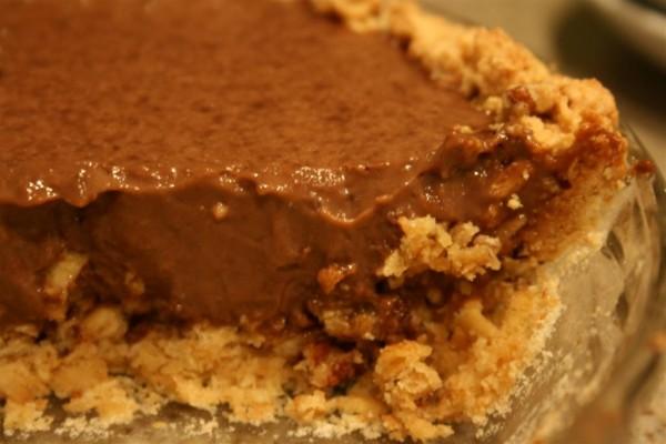 chocolate cream pie in pecan crust