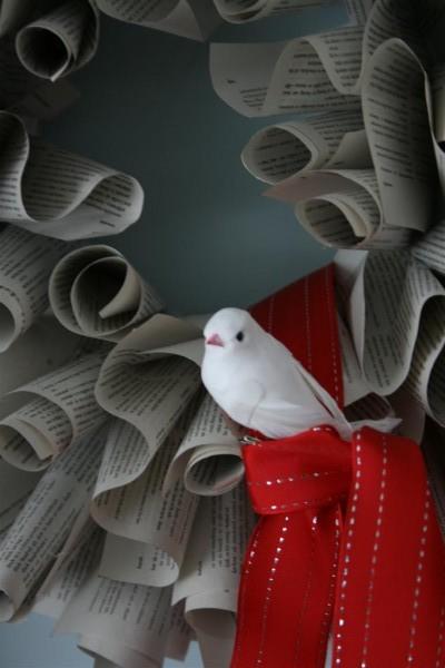 bird on book wreath