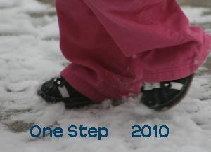 baby feet walking in snow