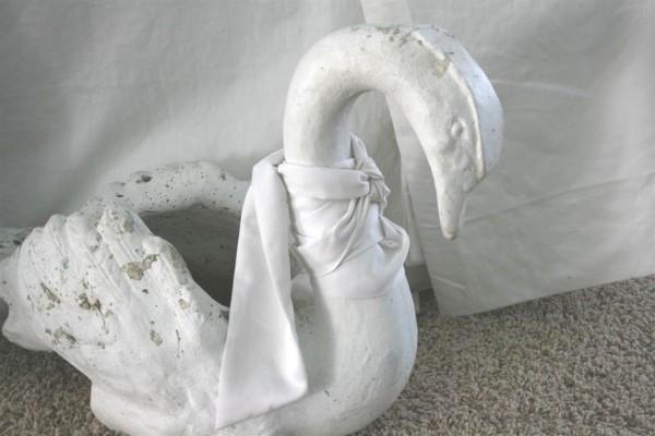vintage cement swan planter