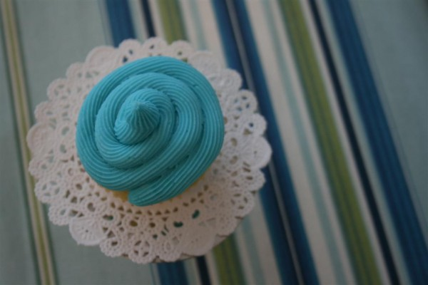 blue frosted cupcake