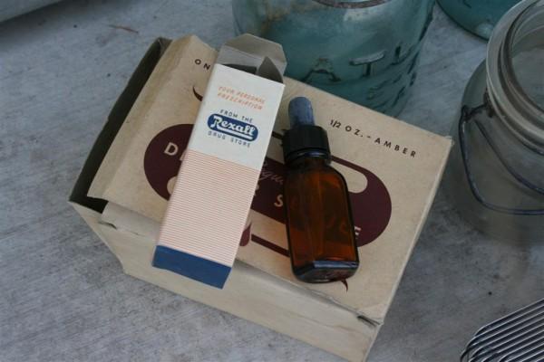 vintage glass medicine bottle