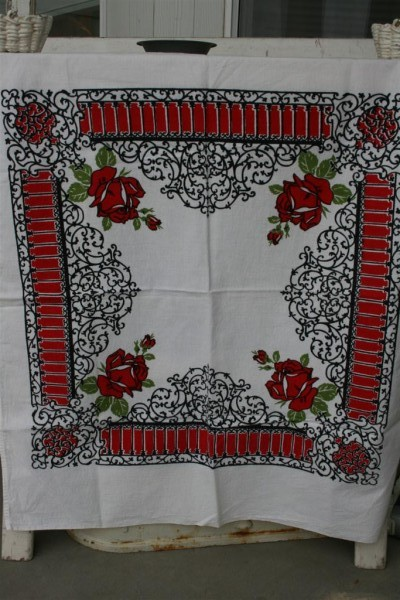 red black and white vintage tablecloth