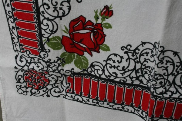 vintage cloth black iron details and red roses