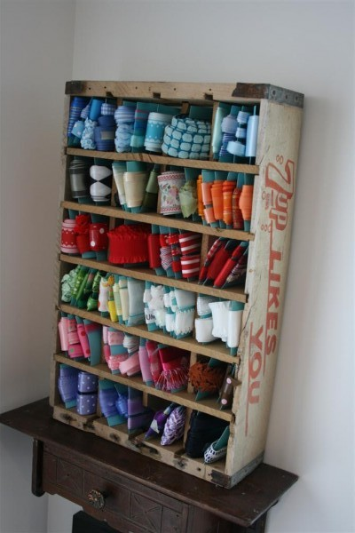wood crate ribbon organizer