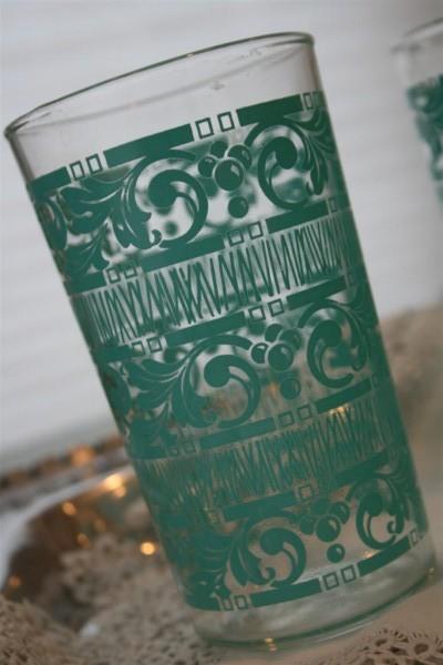 vintage glass with aqua design