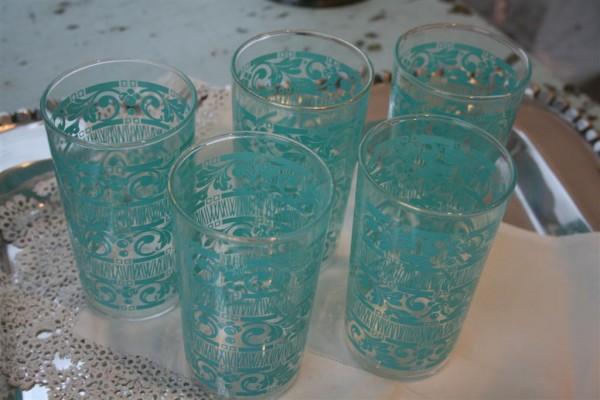 5 vintage aqua glasses