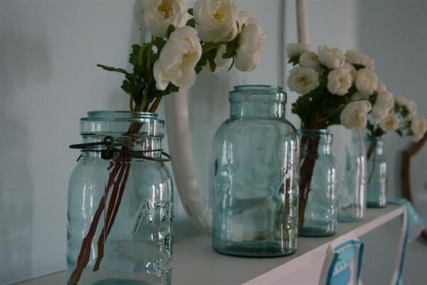 vintage blue glass canning jars