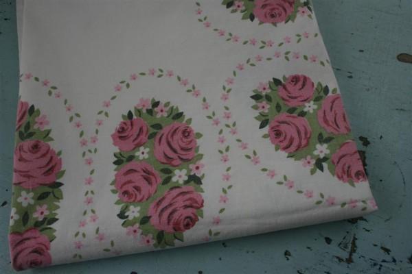 vintage pink flower tablecloth