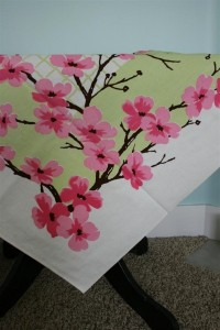 vintage tablecloth with pink blossoms