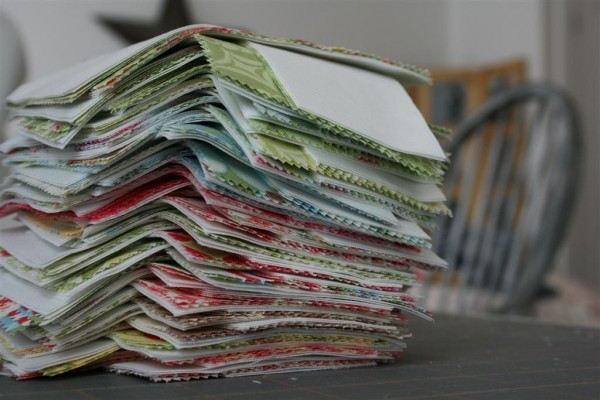 stack of cut quilting fabric
