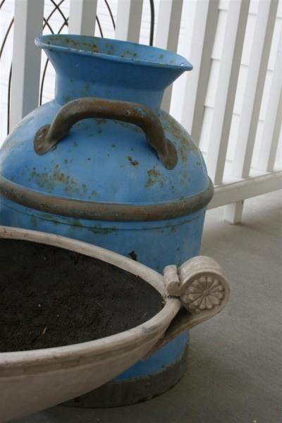 vintage blue milk jug and planter