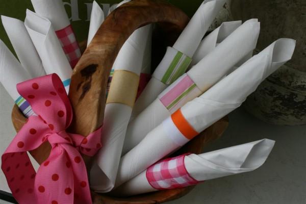basket of ribbon napkin rings