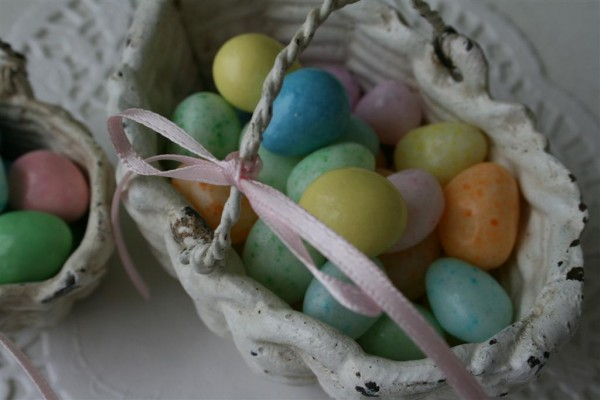 Easter basket with jellybeans