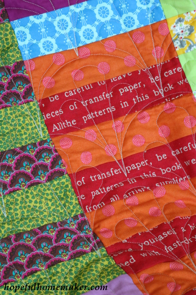 succulent clamshell quilting on Color Stack quilt