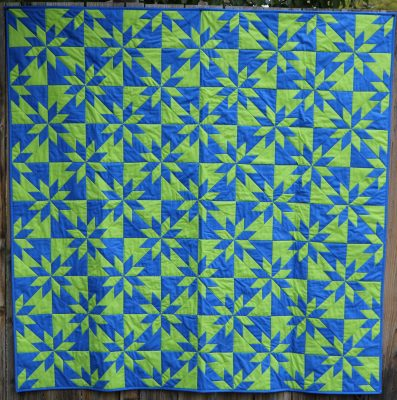 blue and green hunter's star quilt