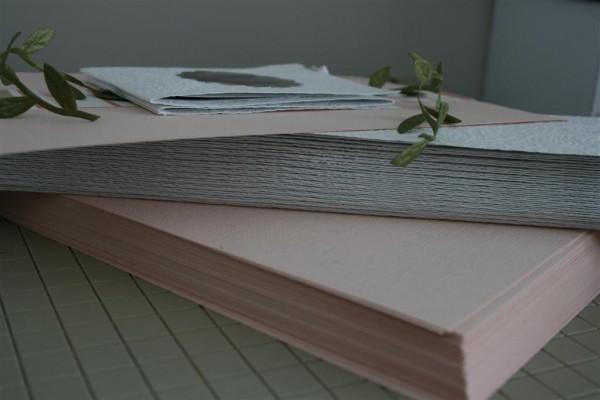 stacks of cut paper