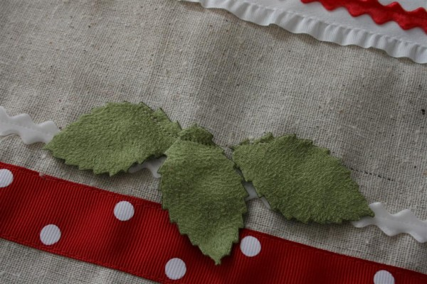 leaves on pillow