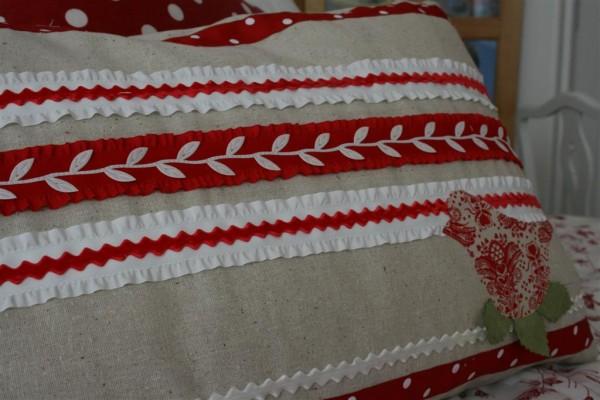ribbon embellished pillow