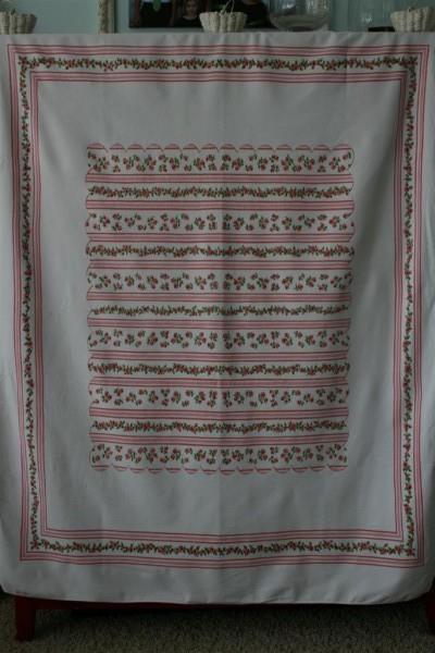vintage pink ticking tablecloth