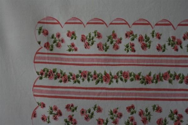 vintage pink ticking tablecloth closeup