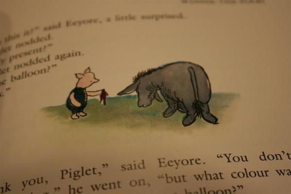 Piglet gives damp rag to Eeyore