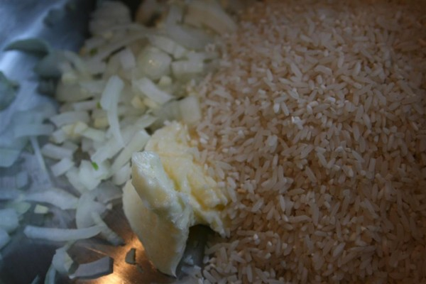 onion, butter and rice