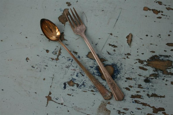 vintage silver fork and spoon