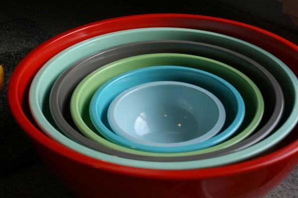 six bowls multi-colored