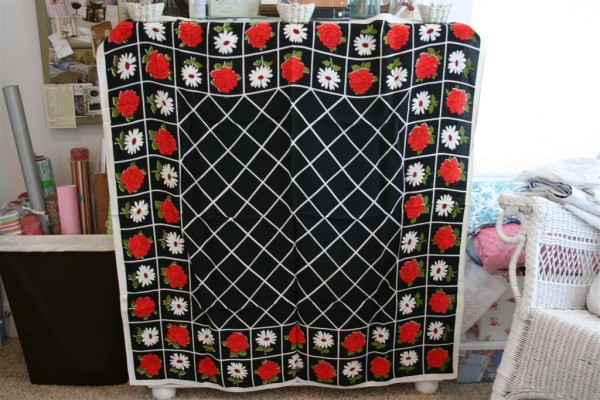 vintage tablecloth with black and white lattice