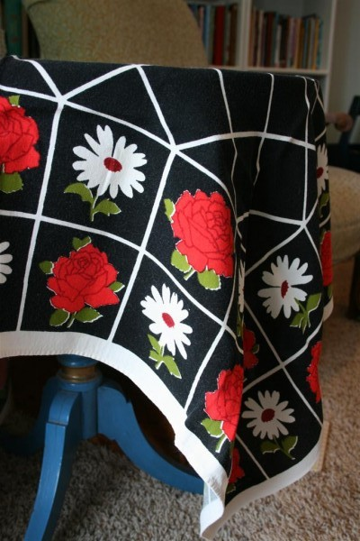 red, white and black vintage tablecloth