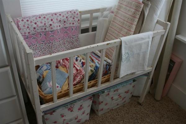 vintage baby crib storage
