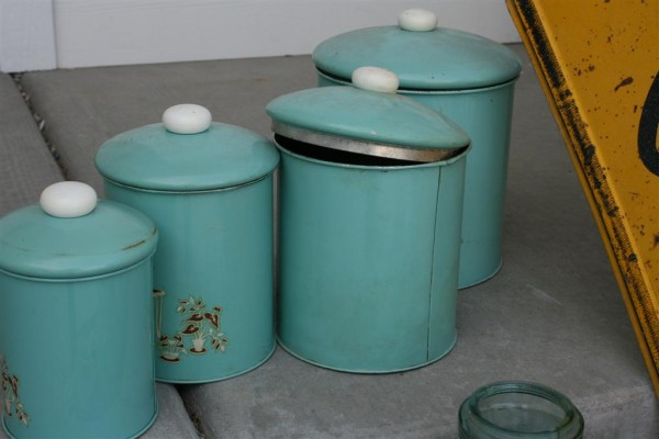 vintage blue canisters