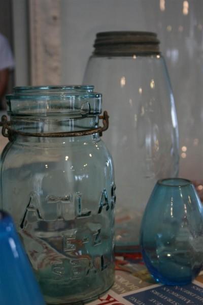 vintage blue atlas jar