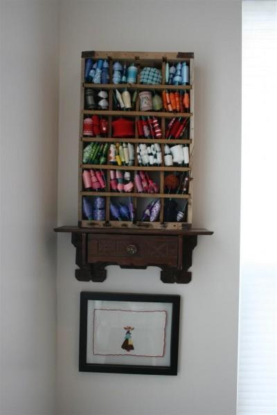ribbon organizer on shelf