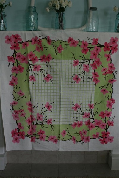vintage pink and green tablecloth