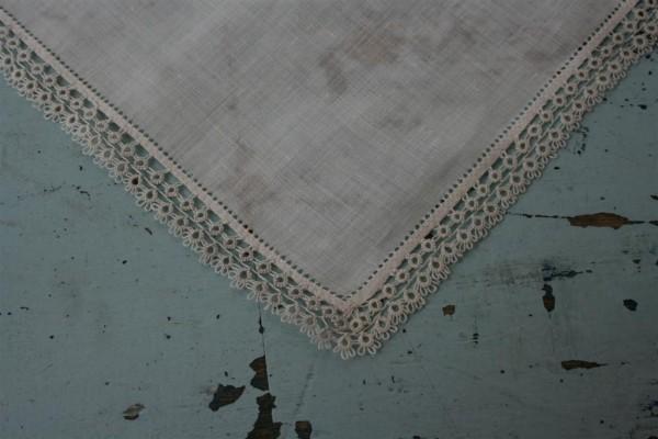 vintage white handkerchief with tatting