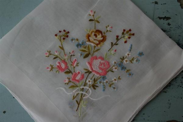 bouquet of flowers vintage hankie