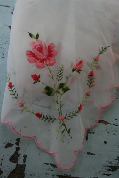 vintage hankie with pink flower