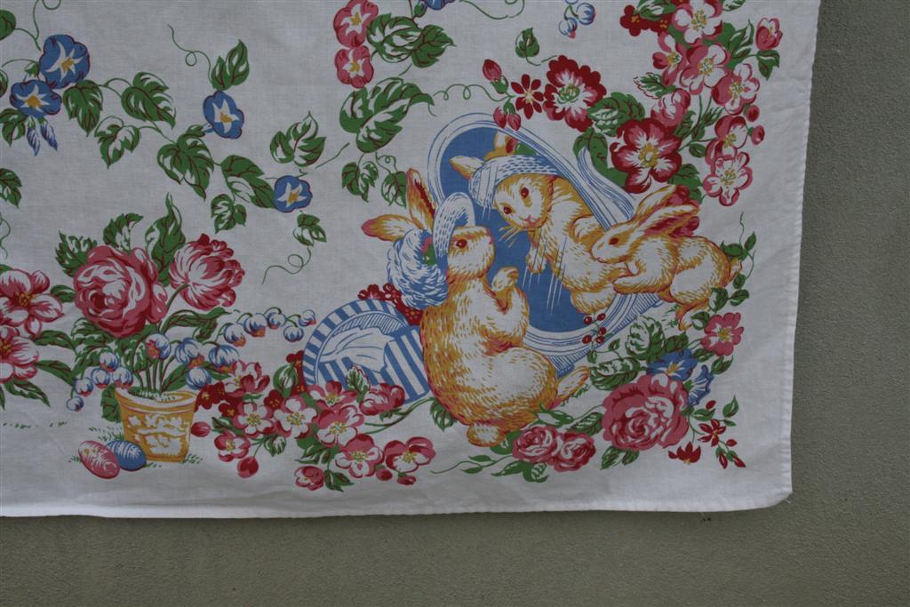 vintage tablecloth easter bunny hopeful homemaker